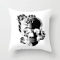 To the core, graphic rose skull Throw Pillow by Kristy Patterson Design