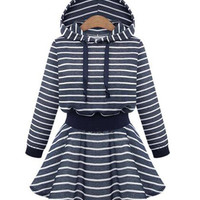 Blue Plus Size Stripe Hooded Skater Dress
