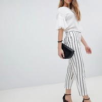 ASOS DESIGN Petite tailored linen cigarette pants in stripe at asos.com