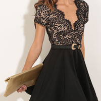 Black Lace Flare Dress with Open Back