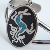 Beautiful Black and Silver Unicorn Cuff Bracelet With Turquoise Blue Body Color, Pretty Handmade Jewelry with Free Shipping and Gift Box