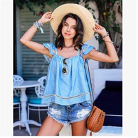 Fashion 2016 Trending Fashion Lace Spagehetti Strap Short Sleeve Boat Neckline Top _ 7952
