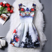 Only Love Floral Print Office Women Outfit To Work Sleeveless Summer Dress