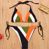 Contrast Fashion Multicolor splicing and black rope two piece bikini
