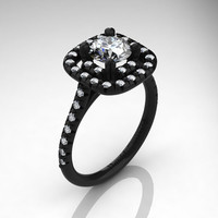 French 14K Black Gold 1.0 Ct Russian Ice CZ Diamond Engagement Ring R1028-14KBGDRICZ