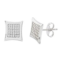 925 Sterling Silver Stud Earrings 10mm Kite Shape Micro Pave Clear CZ Pushbacks