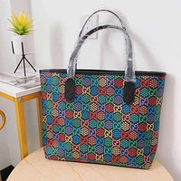 GUCCI Fashion Hot Sale Color Double G Print Women Shopping Tote Shoulder Bag