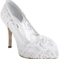 Dolce & Gabbana white crocheted lace rosette pumps | BLUEFLY up to 70% off designer brands