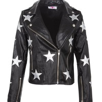 Lucky Star Faux Leather Moto Jacket