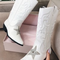 Star Light White Western Star Cowgirl Boots