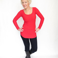 Red shirt extra long top womens tunic top lycra red blouse