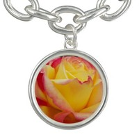 Yellow and Pink Rose Flower Charm