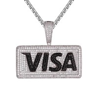 Mens Visa Money Card Black & White Hip Hop Micro Pave Pendant