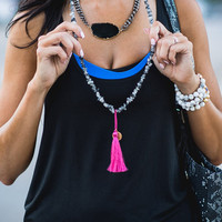 Amor Tassel Necklace - Black Turquoise with Hot Pink Tassel