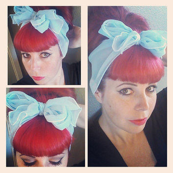 Powder Blue Vintage Style Chiffon Hair Scarf Headwrap Hair Bow 1940s 1950s Rockabilly - Pin Up - For Women, Teens