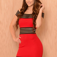 Red Off Shoulder Striped Mesh Bodycon Mini Dress