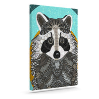 "Art Love Passion ""Racoon in Grass"" Gray Teal Canvas Art"