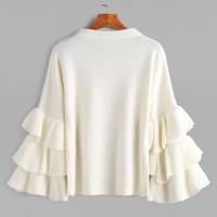 White Layered Ruffle Sleeve Pullover Sweater -SheIn(Sheinside)
