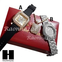HIP HOP GOLD SILVER SIMULATED DIAMOND BLACK SILICONE WATCH NECKLACE 201