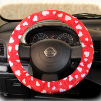 Steering-wheel-cover-cheetah-wheel-car-accessories-hearts-fur-hearts-White-hearts-on-Red-base