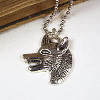 Wolf's Head Necklace on Ball Chain, Silver Tone, Jewelry for Men, Werewolf