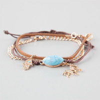 Full Tilt 3 Piece Hamsa/Unicorn/Turquoise Bracelets Brown Combo One Size For Women 25113044901