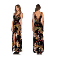 Fashion Chiffon V-neck Long Sleeve Floral Maxi Dress = 4775995524