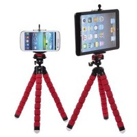 Case Star Red Octopus Style Portable and adjustable Tripod Stand with Mount / Holder (L) for iPhone 4/4S/5, Mount / Holder (XL) for iPad Mini,with Case Star Velvet Bag