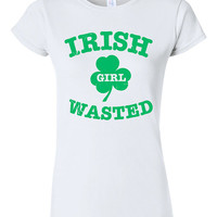Funny Irish Girl Wasted St Patricks Day T-shirt Tshirt Tee Shirt Gift Party Drinking Beer Booze Clover St Paddys Day College Holiday