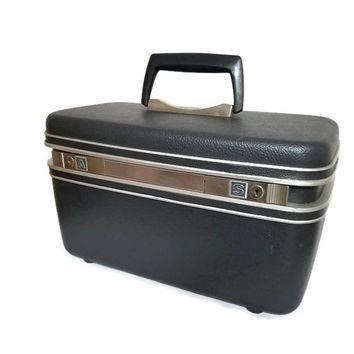 Samsonite Train Case With Key Dark Gray Steel Cosmetic Suitcase Small Luggage Carry On Photo Prop