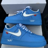 alwayn OFF-WHITE x Nike Air Force 1 solid color mesh breathable low-top sneakers shoes