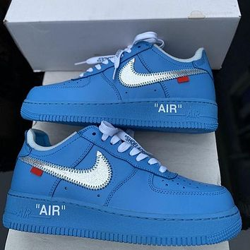 OFF-WHITE x Nike Air Force 1 solid color mesh breathable low-top sneakers shoes
