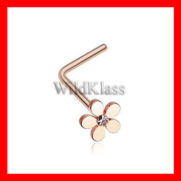 Rose Gold Grand Plumeria L-Shaped Nose Ring 316L Surgical Steel