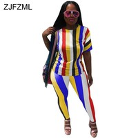 ZJFZML 2018 Rainbow Striped Sexy 2 Two Piece Set Women Short Sleeve T-Shirt Top And Summer Pant Suits Casual Sweatsuit Tracksuit