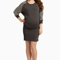Charcoal-Printed-Sleeve-Fitted-Dress