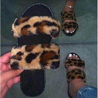 Summer new style strappy top slippers sandals leopard print women flat shoes Leopard