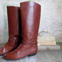 Vintage Etienne Aigner Brown Tall  Equestrian Riding Boots style 6M