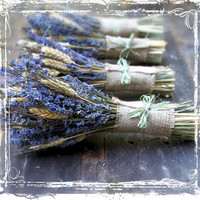 Wheat And Lavender Hand Tied Bouquet - Dried Flower - Herb Herbal Aromatherapy - Purple Neutral Burlap - Weddings - Bridesmaids - European