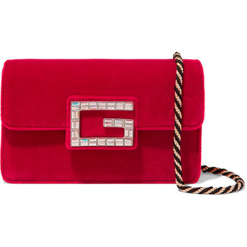 Gucci - Broadway crystal-embellished velvet shoulder bag