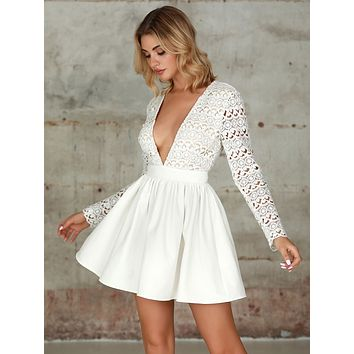 Double Crazy Plunging Guipure Lace Bodice Skater Dress