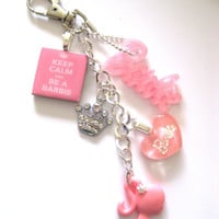 keep calm and be a barbie multi charm crystal crown keyring bag charm