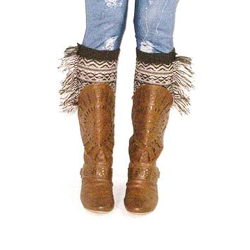 Aztec Boho Boot Cuffs With Fringe Brown And Tan Southwestern Cowgirl Leg Warmers