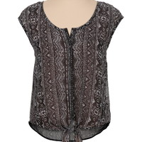 crochet back printed chiffon tie front top