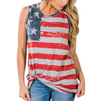 2017 New Arrival T-Shirt Women Print American Flag Sleeveless Tank Crop Tops Vest Multicolor Cotton Fitness Casual Tank Tops