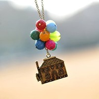 Necklace,beadwork Necklace ,Flying House,flying Dreams,up Movie Necklace