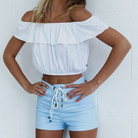 Off Shoulder Crop Top B007794