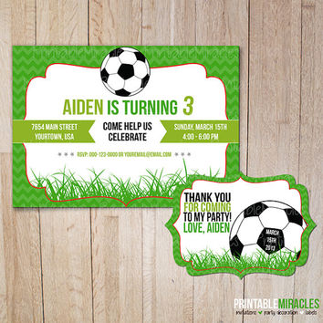 Printable soccer birthday invitation & Thank you label, Soccer party Invite card for kids / Customized, digital