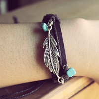 Faux Leather Turquoise Feather Bracelet