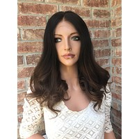 """Brunette Ombre Human Hair Multi Parting lace front wig 12"""" 6172"""