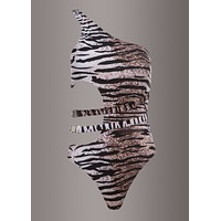 Tiger Animal Print Cut Out One-Piece Swimsuit